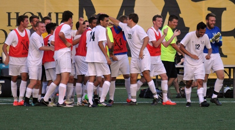 MU Soccer celebrates a goal. Photo courtesy of MU Athletics.