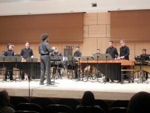 """Millersville Percussion ensemble performs """"Portico."""" The student conductor was Matthew Woodson. (Colin VandenBerg/Snapper)"""