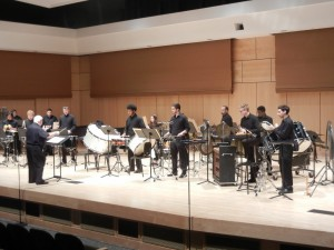 """Millersville Percussion ensemble performs """"Ionisation."""" The guest conductor was Dr. Daniel Heslink. (Colin VandenBerg/Snapper)"""