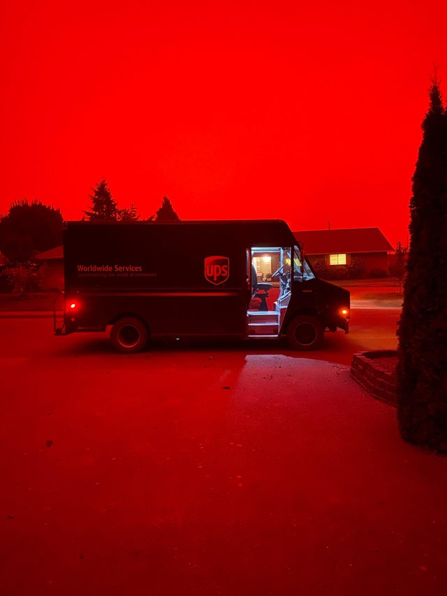 Red skies over Oregon due to the wildfires raging on the west coast.